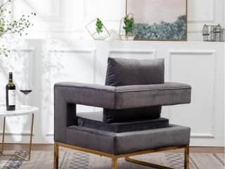 lenola Contemporary Upholstered Accent Arm Chair   Grey
