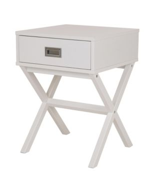Wooden Xleg End Table with Drawer White   Glitzhome