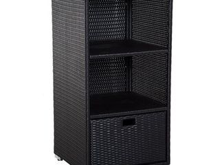 Outsunny Poolside PE Rattan Wicker Towel Valet Organizer Cabinet  Retail 177 49