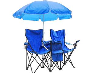 Double Picnic Beach Camping Folding Chair Table Cooler  Patio Umbrella
