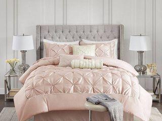 Madison Park Vivian Blush Pieced Pleated 7 piece Comforter Set Queen Retail 99 98