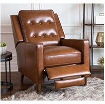 Abbyson Holloway Mid century Top Grain leather Pushback Recliner