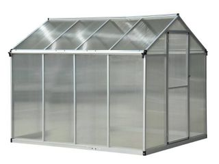 Outsunny 8 x 6 x 6 5 ft Polycarbonate Aluminum Frame Stable Walkin Garden Greenhouse with Opening Roof   UV Resistance  Retail 415 99