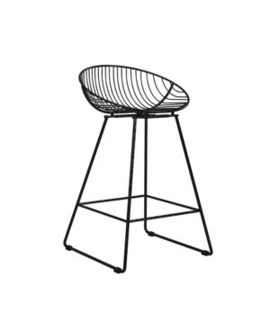 Ellis Wire Counter Height Barstool Black   Cosmoliving by Cosmopolitan