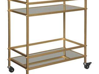 Kailman Contemporary Bar Cart in Metallic Gold Retail 119 49 DAMAGED miss one mirror shelf