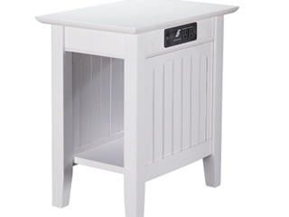 Nantucket Chair Side Table W  Charging white