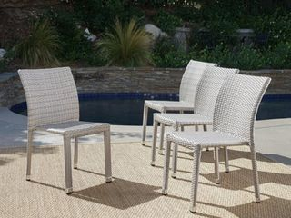 Dover Outdoor Wicker Aluminum Stacking Dining Chair  Set of 4  by Christopher Knight Home Retail 373 49