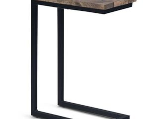 WYNDENHAll Rhonda SOlID MANGO WOOD and Metal 18 inch Wide Rectangle Industrial C Side Table  Fully Assembled  Retail 107 49