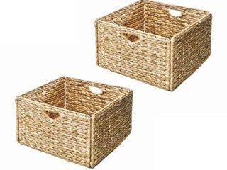Seville Classics Water Hyacinth Storage Baskets  Hand Woven 2 Pack
