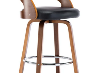Mid Century Faux leather Wood Swivel Counter Stool  Retail 141 99