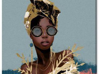 Wynwood Studio  Dusty Blue Wraps  Fashion and Glam Wall Art Canvas Print   Gold  Blue