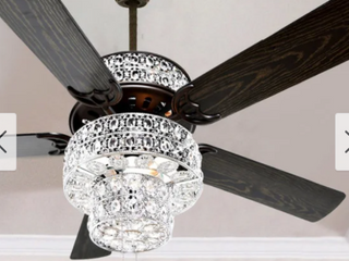 Silver Orchid March Silver Punched Metal and Clear Crystal Ceiling Fan   52 l x 52 W x 21 H  Retail 209 99