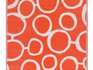 Key West Indoor Outdoor Area Rug 5 x7  Reversible Orange Circles   5  x 7