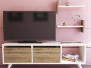 Decorotika Fly 47  TV Stand   Media Console with Accent Shelves   15 9  H x 47 2  W x 11 7  D Retail 129 00