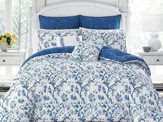laura Ashley Elise Navy Floral 7 piece Comforter Set  Retail 174 98