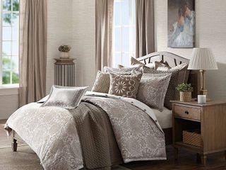 8 x9 5  Madison Park Signature Sophia Ivory Taupe Jacquard Comforter Set  Retail 297 98