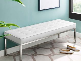 loft Tufted Button large Upholstered Faux leather Bench Silver White   Modway