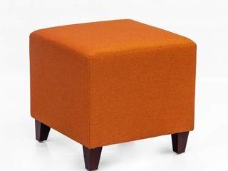 Adeco Simple British Style Cube Ottoman Footstool  16x16x16  Passionate Orange