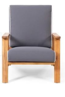 Paloma Outdoor Acacia Wood Club Chair with Cushion by Christopher Knight Home  Retail 386 49