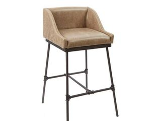 29  Renzo Industrial Pipe Square Stool with Back Brown   Silverwood