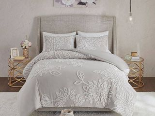 90 x90  Madison Park Pansy Grey  White Tufted Cotton Chenille Floral Comforter Set  Retail 155 53