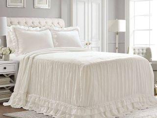 Queen Size lush Decor Ella Shabby Chic Ruffle lace Bedspread Set  Retail 126 99