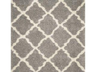 Gray Ivory Geometric Shag Flokati loomed Area Rug    8 X10    Safavieh