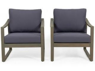 Grenada Outdoor Acacia Wood Club Chairs with Grey Cushions  Set of 4  by Christopher Knight Home
