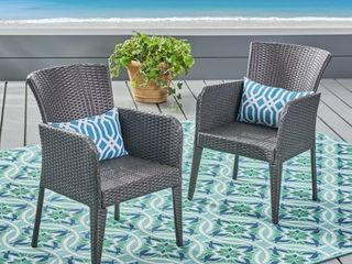 Anaya Outdoor Wicker Dining Chair  Set of 2  by Christopher Knight Home Retail 198 99