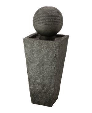 Glitzhome Rippling Floating Sphere Pedestal Outdoor Fountain with Pump and led light
