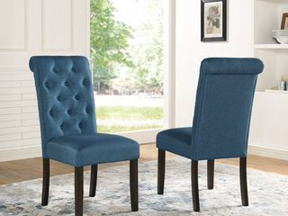 Roundhill leviton Solid Wood Tufted Asons Dining Chair  Set of 2  Blue