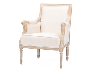 Chavanon Wood   Cotton Traditional French Accent Chair  Retail 388 49 This is a light Blue not Cream Color