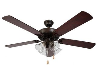 HARlI 5 Blade Ceiling Fan in Oil Rubbed Bronze  Walnut blade and Clear Seedy Glass Retail 83 49
