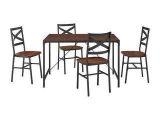 5 piece Angle Iron Dining Set W x Back Chairs  Dark Walnut