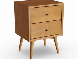 Carson Carrington Bjaeverskov Mid century Wood  Veneer 2 drawer Nightstand Retail 185 99