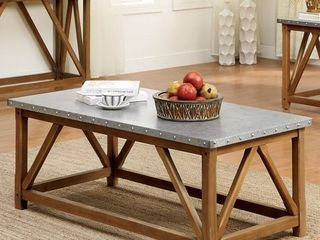 Furniture of America Gazy Industrial Brown Iron Top Coffee Table Retail 271 49