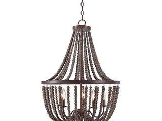 Dumas 5 light Wood Bead Chandelier Ceiling lights   Kenroy Home
