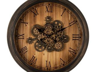 Glitzhome 27 8 D Vintage Industral Oversized Wooden Metal Wall Clock with Moving Gears  Retail 146 99