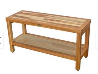 EcoDecors Eleganto 35  Solid Teak Shower Bench With Shelf   EarthyTeak Finish Retail 219 95