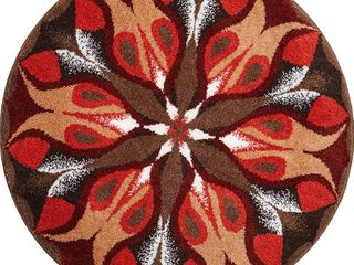 Grund Designer Series Accent Bath Rug  Passion  32 Inch by 32 Inch  Red Brown  RETAIl  53 90