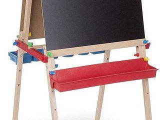 Melissa   Doug Deluxe Standing Art Easel   Dry Erase Board  Chalkboard  Paper Roller  RETAIl  79 99