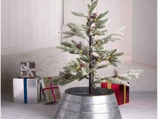 Glitzhome Rustic Galvanized Metal Tree Collar  Metal Tree Skirt for Christmas Decor  RETAIl  79 98