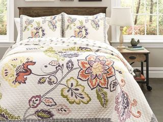 lush Decor Aster Quilt Flower Pattern Reversible Coral and Navy 3 Piece lightweight Bedding Set  King  RETAIl  249 00