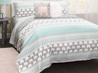 lush Decor Pink and Turquoise Elephant Striped 4 Piece Quilt Bed Set  Reversible  Twin  Pink   Turquoise  RETAIl  180 00