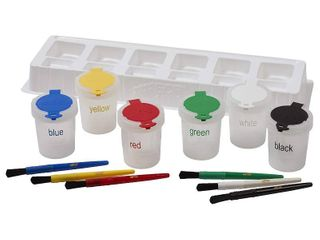 ECR4Kids Art Brush  Tray and large Trilingual Paint Cups Set   Art Supplies for Kids and Toddlers  13 Piece Kit   RETAIl  14 99