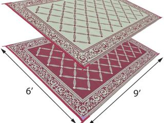 Reversible Mats Outdoor Patio 6 Feet x 9 Feet  Burgundy Beige RV Camping Mat  RETAIl  21 81