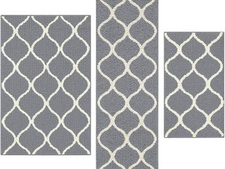 Maples Rugs Rebecca  3pc Set  Non Kid Accent Throw Rugs Runner  Made in USA  for Entryway and Bedroom  Grey White  RETAIl  58 58