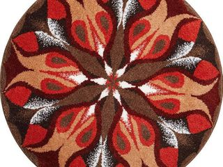 Grund Designer Series Accent Bath Rug  Passion  32 Inch by 32 Inch  Red Brown  RETAIl  53 58