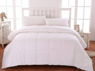 Cottonpure Sustainable Cotton Filled Medium Warmth Breathable Hypoallergenic Comforter  White  Full Queen  RETAIl  125 64