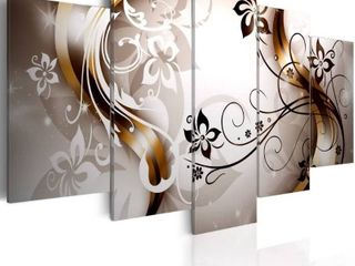 Konda Art   Harmonious Delicacy Modern Flower Canvas Wall Art large Artwork Black and White 5 pcs Abstract Paintings HD Floral Print Picture for living Room  60 x30   RETAIl  105 99